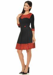 rochie-de-zi-negru-cu-rosu-si-imprimeu-catifea